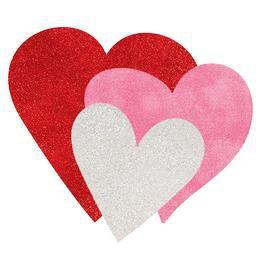 Glitteres Fehér Pink Piros Szívek Dekoráció, 6 db-os