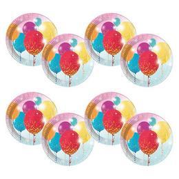 Lufis - Glittering Balloons Parti Tányér - 23 cm, 8 db-os