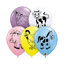 11 inch-es Farm Animal - Állatos - Assortment Lufi (6 db/csomag)