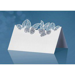 Gyöngyfehér Pillangós Ültetőkártya - 9,2 cm x 5,7 cm, 10 db-os