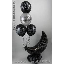 Black Gothic Crescent Moon Lufi Dekoráció Halloweenre