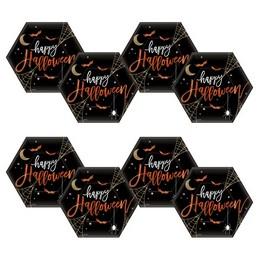 Halloween Hexagon Alakú Parti Tányér