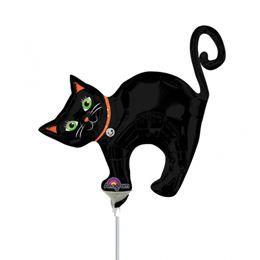 Fekete Macska - Halloween Cat Mini Shape Fólia Lufi Pálcán