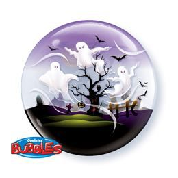 22 inch-es Spooky Ghost - Szellemek Héliumos Bubble Lufi Halloweenre
