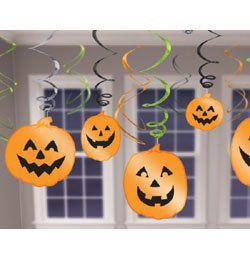 Tökfejes Spirális Függő Dekoráció Halloweenre - 12 db-os