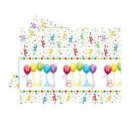 Happy Birthday Streamers - Szülinapi Parti Asztalterítő - 180 cm x 120 cm