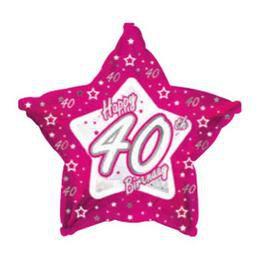 18 inch-es Happy Birthday Csillag Alakú 40-es Szülinapi Héliumos Fólia Lufi