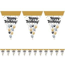 Happy Birthday! Elegáns Léggömbös Szülinapi Zászlófüzér - 5 m