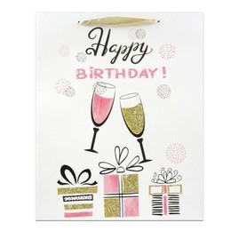 Happy Birthday Feliratú Gliteres Óriás Ajándéktasak