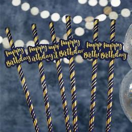 Happy Birthday Feliratú Navy Kék Arany Papír Szívószál