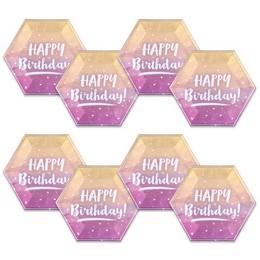 Happy Birthday Feliratú Rose Gold Ombre Színű Szülinapi Tányér