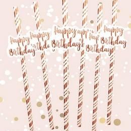 Happy Birthday Feliratú Rosegold Papír Szívószál