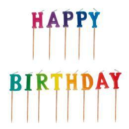 Happy Birthday Feliratú Színes Szülinapi Parti Gyertya - 13 db-os