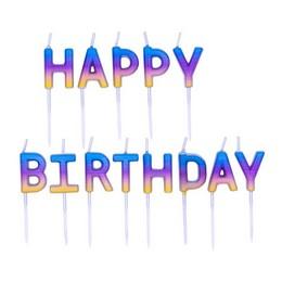 Happy Birthday Feliratú Szivárvány Ombre Gyertya