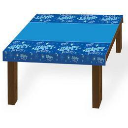 Szülinapi Kék Parti Asztalterítő - 130 cm x 180 cm