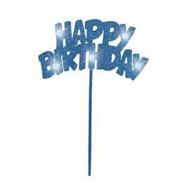 Happy Birthday Feliratú Világító Kék Tortadísz