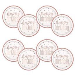 Happy Birthday Rózsaszín Csillámos Szülinapi Tányér