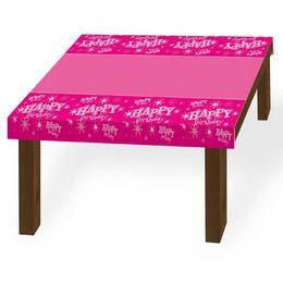 Happy Birthday Rózsaszín Sparkle Szülinapi Parti Asztalterítő - 130 cm x 180 cm