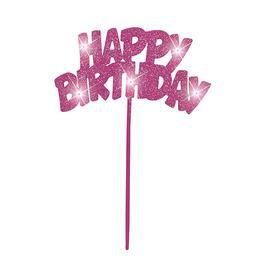 Happy Birthday Feliratú Világító Rózsaszín Tortadísz