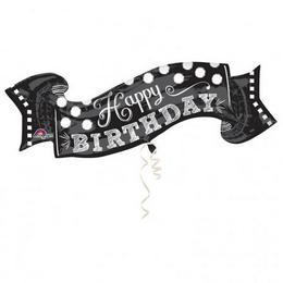 40 inch-es Black & White Chalkboard Birthday Szülinapi Super Shape Fólia Lufi
