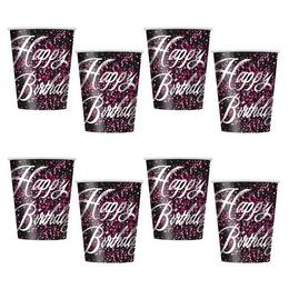 Happy Birthday - Szülinapi Pink Glitz Parti Pohár -  270 ml, 8 db-os