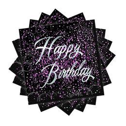 Happy Birthday - Szülinapi Pink Glitz Parti Szalvéta - 33 cm x 33 cm, 16 db-os