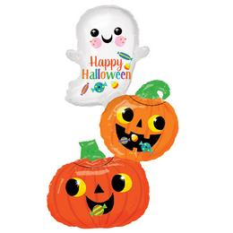 Happy Ghost & Pumpkin Stack Super Shape Fólia Lufi Halloween-re