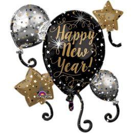 Happy New Year Csillagok és Lufi Héliumos Fólia Lufi