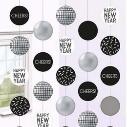 Szilveszteri Disco Ball Függő Dekoráció, 150 cm-es