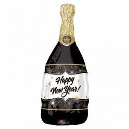 Happy New Year Fekete Pezsgősüveg Héliumos Fólia Lufi