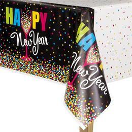 Happy New Year Szilveszteri Konfettis Asztalterítő - 137 cm x 213 cm