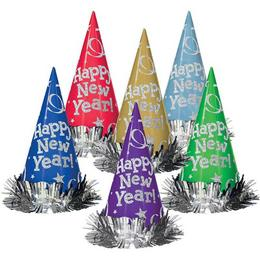 Happy New Year Színes Glitteres Szilveszteri Csákó Kalap, 12 db-os