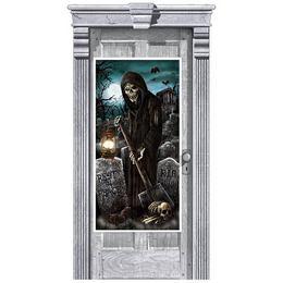 Haunted House Cemetery - Sírásó Kaszás Temető Ajtódekoráció, 165 x 85 cm