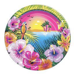 Hawaii Luau Parti Tányér - 23 cm, 8 db-os
