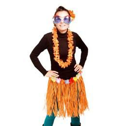 Hawaii Parti Narancssárga Fűszoknya - 45 cm