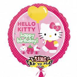 28 inch-es Hello Kitty Éneklő Szülinapi Héliumos Fólia Lufi