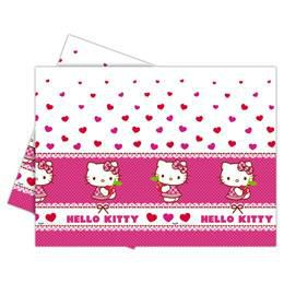 Hello Kitty Hearts - Szíves Parti Asztalterítő - 180 cm x 120 cm