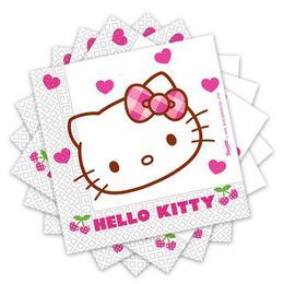 Hello Kitty Hearts - Szíves Parti Szalvéta - 33 cm x 33 cm, 20 db-os