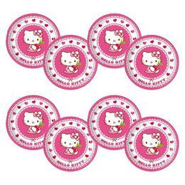 Hello Kitty Hearts - Szíves Parti Tányér - 23 cm, 8 db-os