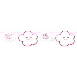 Rózsaszín Felhős Dekorációs Füzér Babaszületésre - 4 m