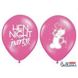 Hen Night Party Feliratú Pink Lufi Lánybúcsúra - 30 cm, 6 db-os