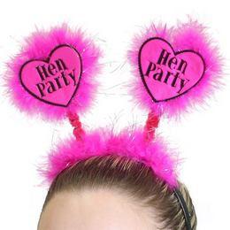 Szíves Tollas Pink Fejpánt Lánybúcsúra - Hen Party Felirattal