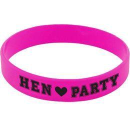 Rózsaszín Gumi Karkötő Szett Lánybúcsúra - Hen Party Felirattal