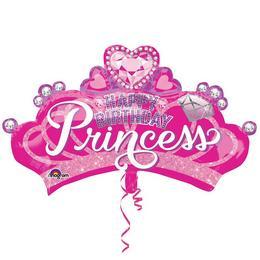 Hercegnő Pink Szülinapi Korona Alakú Héliumos Fólia Lufi, 81 cm