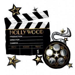 Hollywoodi Filmes Csapó Tábla Héliumos Fólia Lufi, 76 cm