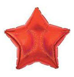 Hologramos Piros Csillag Héliumos Fólia Lufi, 66 cm