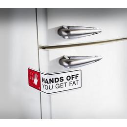 Hűtőmágnes Zár Hands Off Felirattal