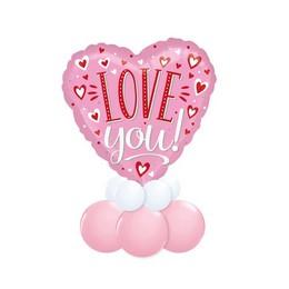 I Love You Feliratos Pink Valentin-napi Asztali Lufidísz