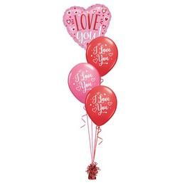 I Love You Feliratos Pink Valentin-napi Léggömbcsokor
