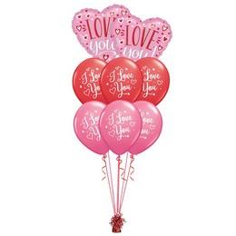 I Love You Feliratos Pink Valentin-napi Prémium Léggömbcsokor